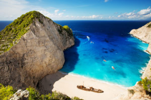 Beautiful beach of Shipwreck Beach. Zakynthos, Greece.